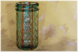 Blue jar with stripe