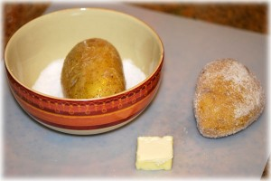 salt the potatoes