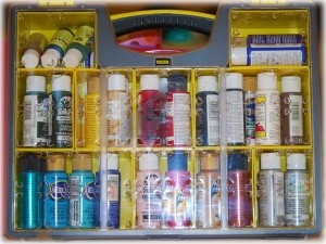 Paint box filled with paint